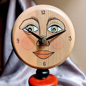 Whimsical Moonface Wooden Clock